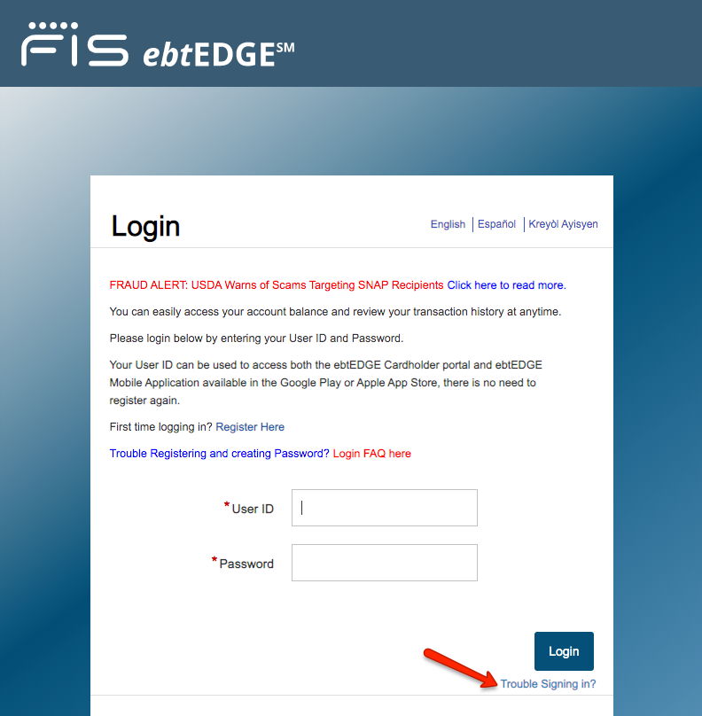 """Retrieve Username and Password for ebtEDGE account"""