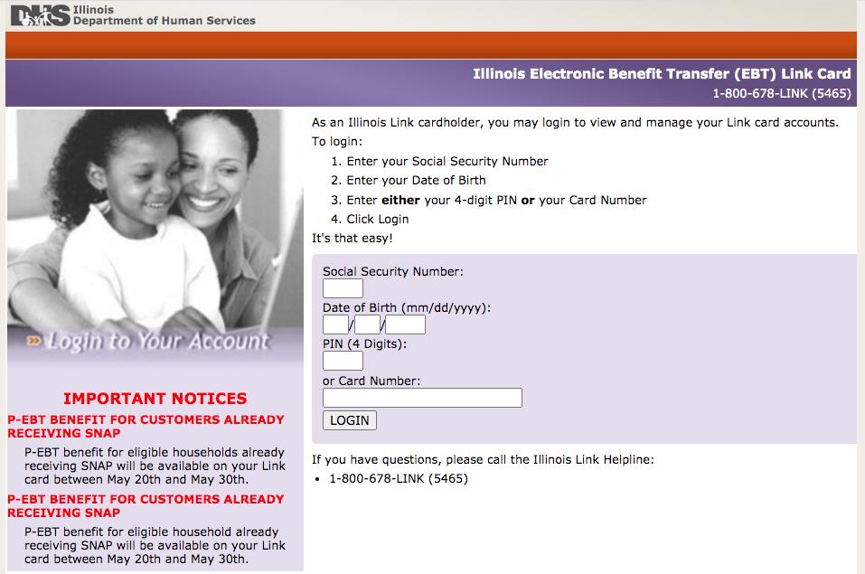"""Illinois EBT Link Card website"""