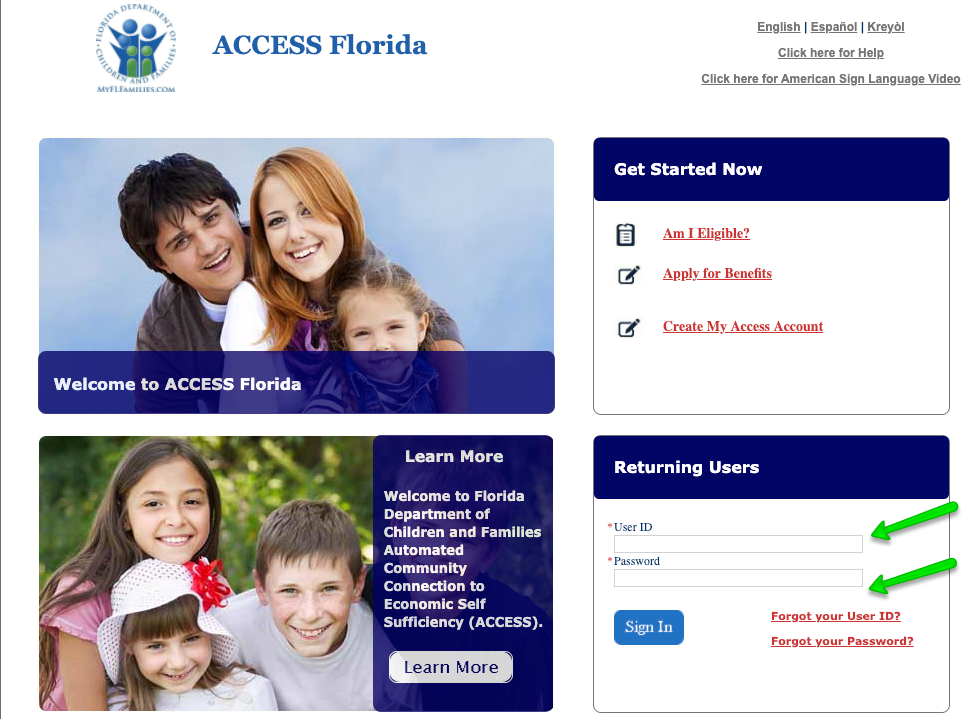 """My Access Florida Account Login - enter user ID and password"""