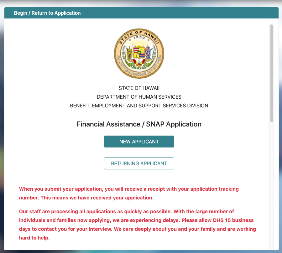 """Apply for Hawaii Food Stamps Online"""