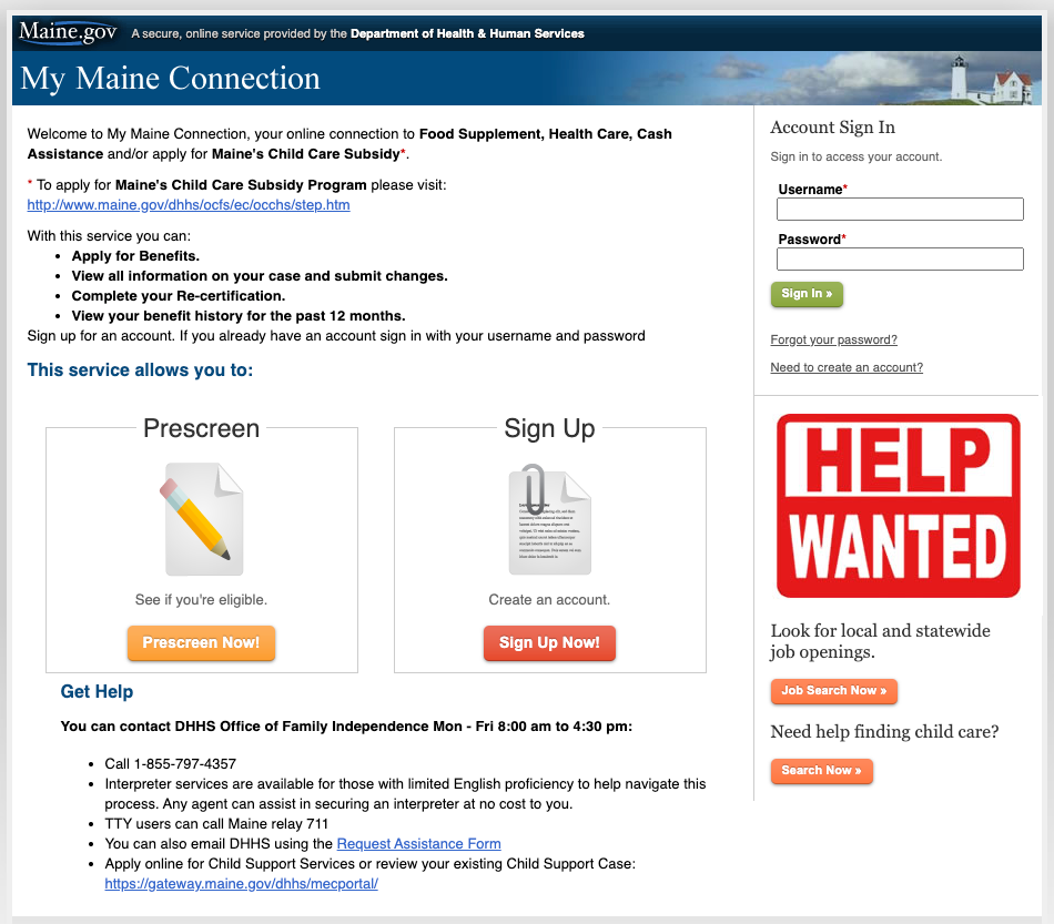 """Apply for Maine Food Stamps Online"""