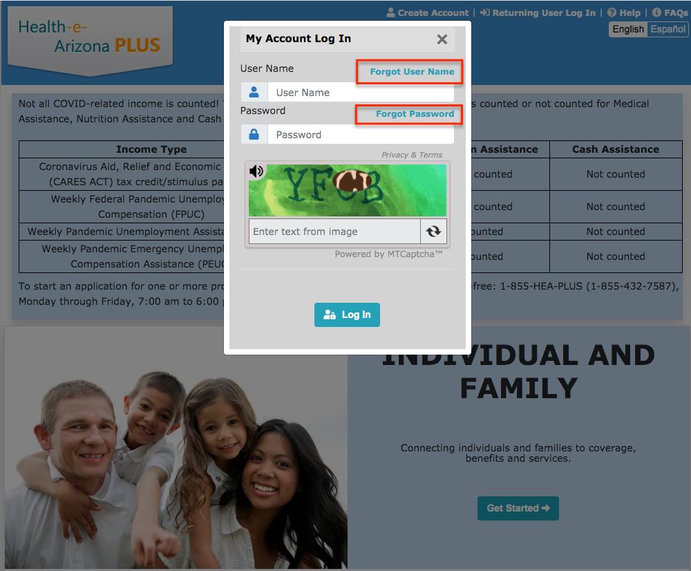 """Health-e-Arizona Plus retrieve username and reset password"""