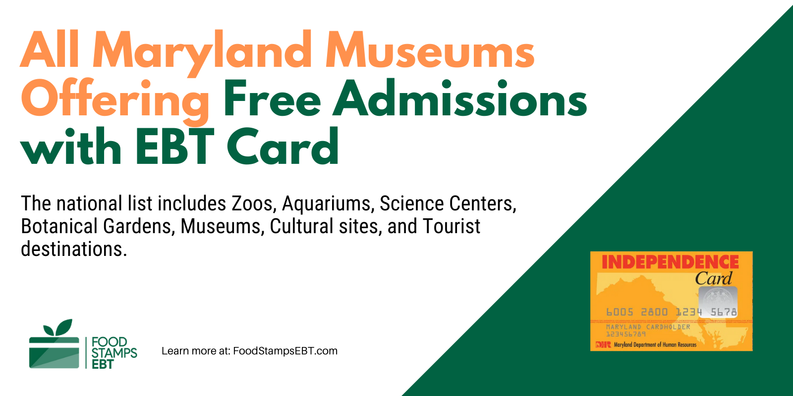 """""""Maryland Museums For Free with EBT Card"""""""
