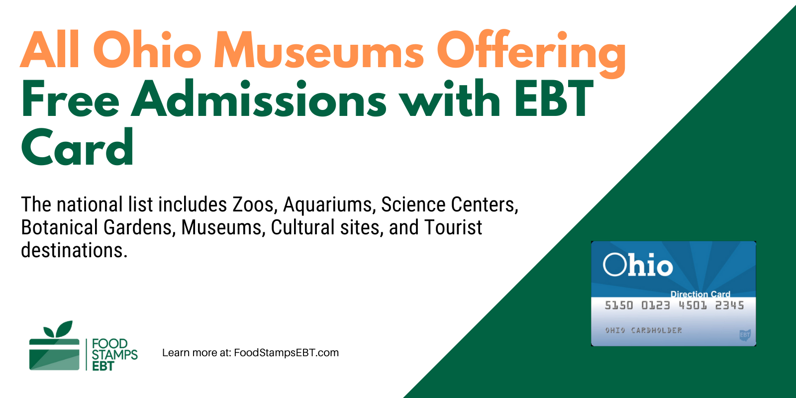 """""""Ohio Museums For Free with EBT Card"""""""