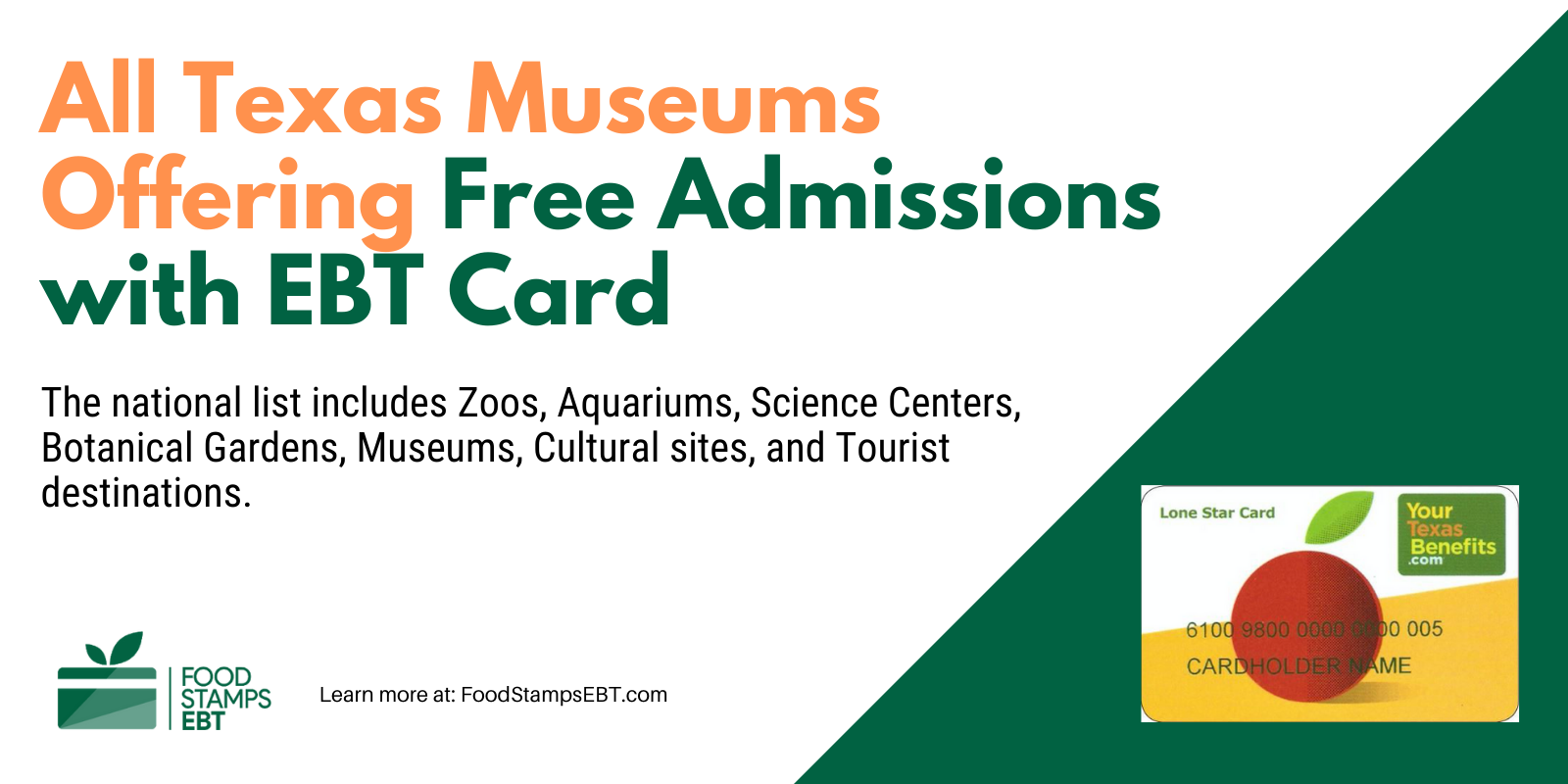"""""""Texas Museums For Free with EBT Card"""""""